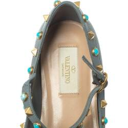 Valentino Grey Leather Rolling Rockstud Ankle Strap Ballerina Flats Size 37.5
