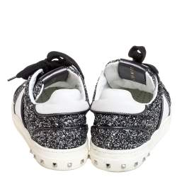 Valentino Metallic Grey/White Glitter And Leather Flycrew Low Top Sneakers Size 37