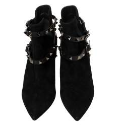 Valentino Black Suede Rockstud Harness Ankle Boots Size 36.5