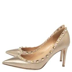 Valentino Metallic Gold Leather Rockstud Pumps Size 37