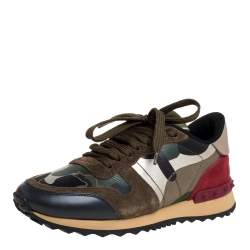 Valentino Multicolor Camouflage Printed Canvas And Suede Leather Rockrunner Low Top Sneakers Size 35