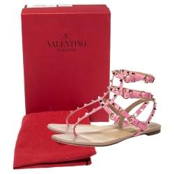 Valentino Pink Leather Rockstud Thong Flat Sandals Size 39.5