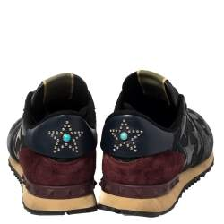 Valentino Multicolor Suede and Leather Star Rockrunner Sneakers Size 42