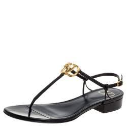Valentino Black Leather VLogo Thong Sandals Size 38