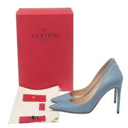 Valentino Blue Leather Pointed Toe Pumps Size 39.5