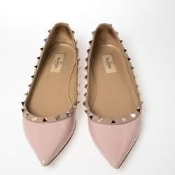 Valentino Pink Patent Leather Rockstud Ballet Flats Size 40
