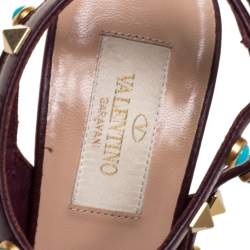 Valentino Brown Leather Rolling Rockstud Pointed Toe Ankle Strap Sandals Size 37