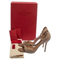 Valentino Beige Leather Studded D'orsay Sandals Size 38