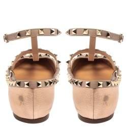 Valentino Metallic Rose Gold Leather Rockstud Ankle Strap Ballet Flats Size 40