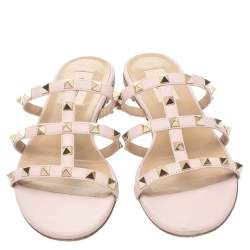 Valentino Pink Leather Rockstud Flat Sandals Size 37.5