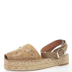 Valentino Beige Suede And Leather Embellished Ankle Strap Espadrilles Size 38