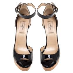 Valentino Black Patent Leather Lace Embellished Wedge Peep Toe Ankle Strap Sandals Size 38