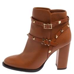 Valentino Tan Leather Rockstud Block Heel Ankle Boots Size 37