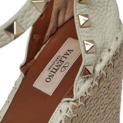 Valentino Off White Leather Wedge Sandals Size 39