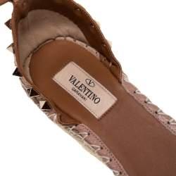Valentino Pale Pink Leather Rockstud Espadrille Wedge Sandals Size 37