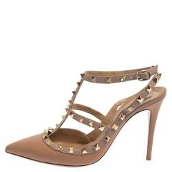 Valentino Beige Leather Rockstud Ankle Strap Sandals Size 40