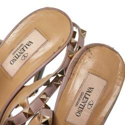 Valentino Gray/Beige Patent Leather Rockstud Ankle Strap Sandals Size 39