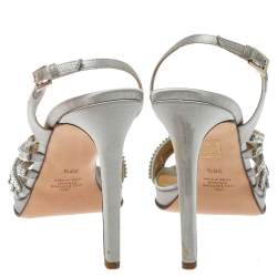 Valentino Light Grey Satin Crystal Embellished Slingback Sandals Size 39.5