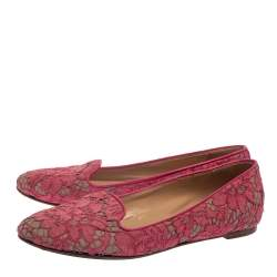 Valentino Pink Floral Lace Smoking Slippers Size 39