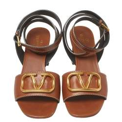 Valentino Brown Leather V logo Ankle Wrap Block Heel Sandals Size 39