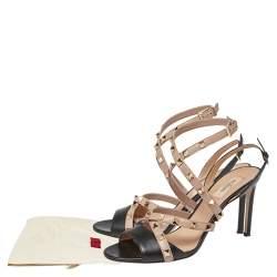 Valentino Black/Beige Leather Rockstud Strappy Open Toe Sandals Size 40
