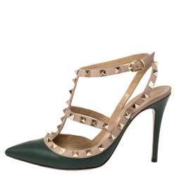 Valentino Green/Beige Leather Rockstud Pointed Toe Ankle Strap Sandals Size 37