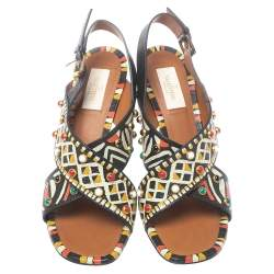 Valentino Multicolor Leather Studded Crossover Primitive Ankle Strap Sandals Size 39.5