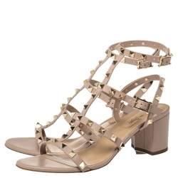 Valentino Beige Leather Rockstud Block Heel Strappy Sandals Size 39