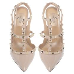 Valentino Beige Patent Leather Rockstud Pointed Toe Sandals Size 39.5
