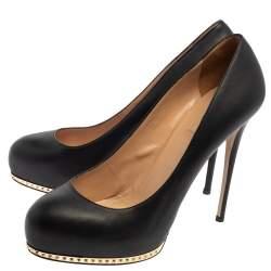Valentino Black Leather Studded Round Toe Platform Pumps Size 40.5