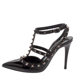 Valentino Black Patent Leather Rockstud Ankle Strap Sandals Size 37.5