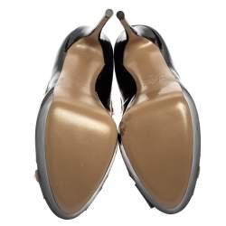 Valentino Black Leather Rockstud Peep Toe Platform Pumps Size 40