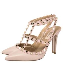 Valentino Pink Leather Rockstud Ankle Strap Sandals Size 38