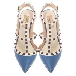 Valentino Blue Leather Rockstud Ankle Strap Sandals Size 38