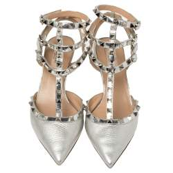 Valentino Silver Leather Rockstud Ankle Strap Sandals Size 39.5