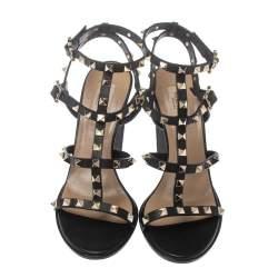 Valentino Black Leather Rockstud Ankle Strappy Block Heel Sandals Size 39.5