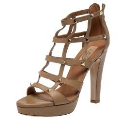 Valentino Beige Leather Rockstud Sandals Size 38.5