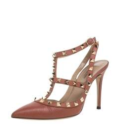 Valentino Brown Leather Rockstud Sandals Size 36