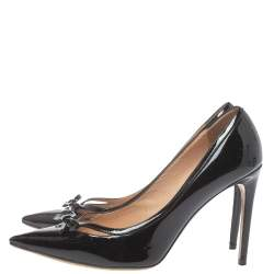 Valentino Black Patent Leather Bow Pointed Toe Pumps Size 38.5