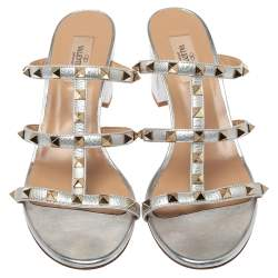 Valentino Silver Leather Rockstud Open Toe Slide Sandals Size 41