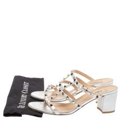 Valentino Silver Leather Rockstud Open Toe Slide Sandals Size 41