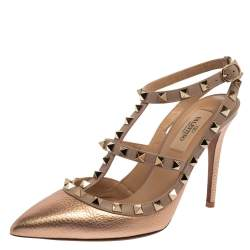 Valentino Metallic Rose Gold Leather Rockstud Ankle Strap Sandals Size 37.5