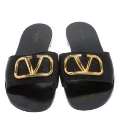 Valentino Black Leather VLogo Slide Flats Size 40