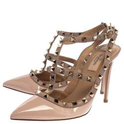 Valentino Blush Pink Leather Rockstud Ankle Strap Sandals Size 38.5