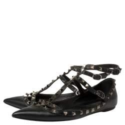 Valentino Black Leather Rockstud  Flats Size 38.5