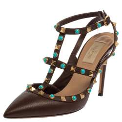 Valentino Brown Leather Rockstud Pointed Toe Ankle Strap Sandals Size 38
