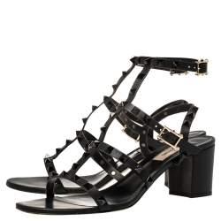 Valentino Black Leather Rockstud Block Heel Sandals Size 39