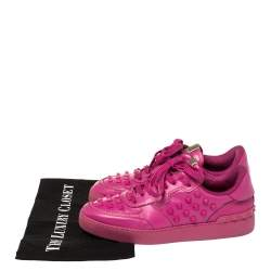 Valentino Fuchsia Pink Leather Rockstud Low Top Sneakers Size 39