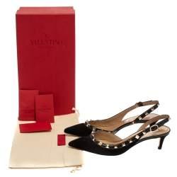Valentino Black Suede Rockstud Pointed Toe Slingback Sandals Size 36.5