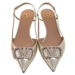 Valentino Metallic Leather VLogo Signature Slingback Pumps Size 39